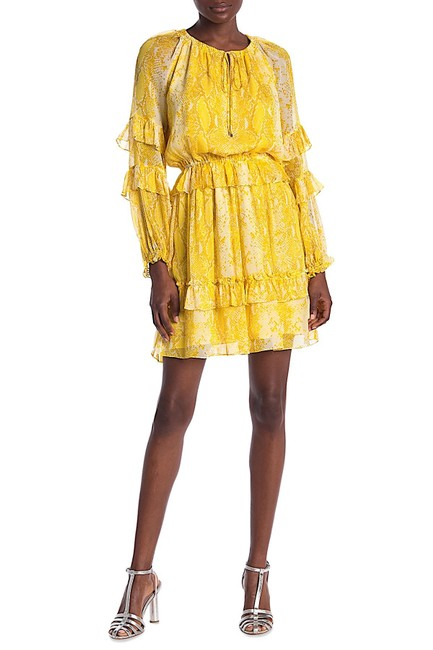 Item - Yellow with Tag Haven Snake Print Silk Ruffle Mid-length Night Out Dress Size 8 (M)