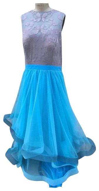 Item - Blue Horsehair Beaded Lace Gown Long Formal Dress Size 18 (XL, Plus 0x)