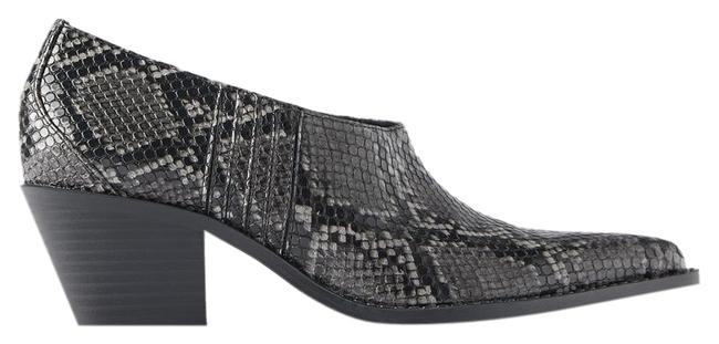 Item - Gray Animal Snake Print Cowboy Heeled Ankle Gray/Black New Boots/Booties Size US 7.5 Regular (M, B)