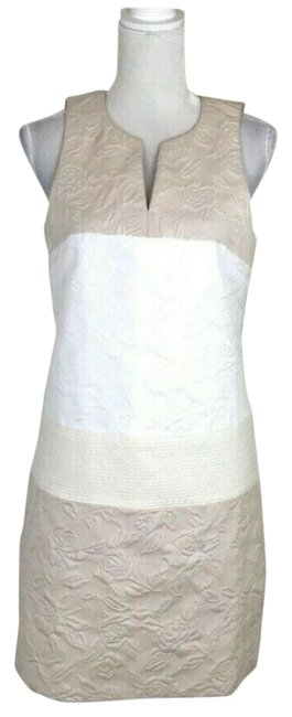 Item - Beige Shift Floral Color Block Sleeveless Jacquard 4.collective White Short Work/Office Dress Size 10 (M)