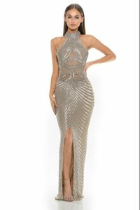 Silver/Gold Satin/Mesh/Rhinestones Couture Gown Sexy Wedding Dress Size 2 (XS)