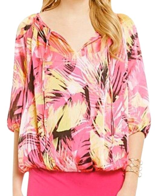 Item - Pink Yellow Peasant Boho Style Poly Blouse Size 14 (L)