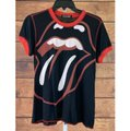 Chaser Chaser Rolling Stones Tongue Red Stitch Black/Red Women's Shirt Size L Image 2