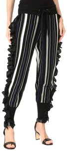 3.1 Phillip Lim Striped Ruffle Knit Stretchy Comfortable Relaxed Pants Blue, Black