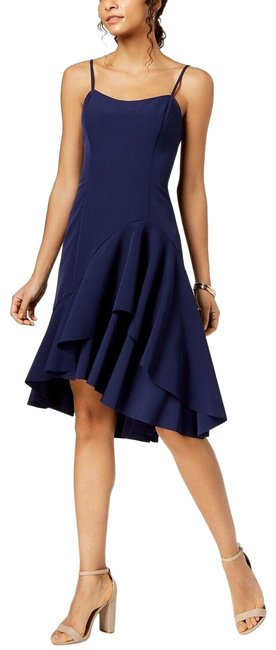 Item - Navy Blue Tiered Mermaid Spaghetti Strap Mid-length Cocktail Dress Size 8 (M)