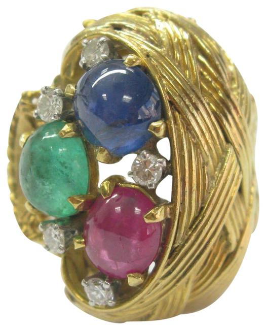 Item - Yellow Gold W 18k Gem Ruby Sapphire Emerald Diamond Solitaire Accents Ring