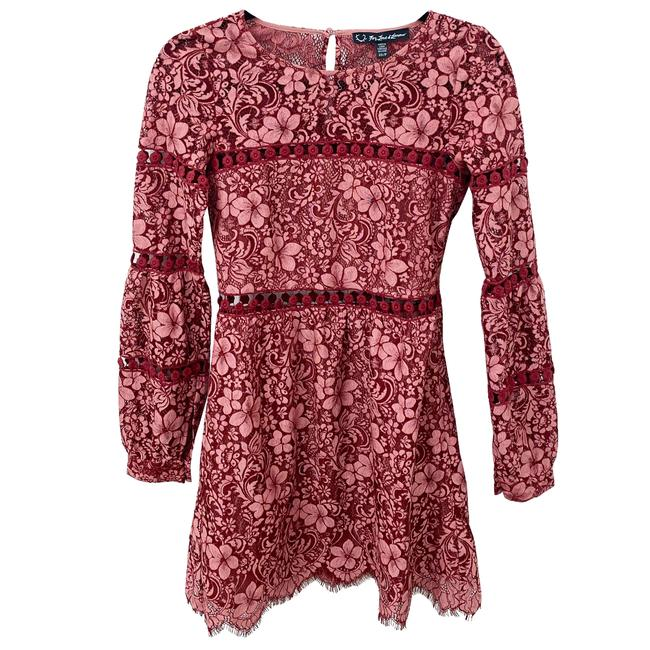 Item - Pink and Red Long Sleeve Lace Mini Short Cocktail Dress Size 2 (XS)