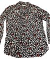 Equipment Navy White Red Accents Button-down Top Size 6 (S) Equipment Navy White Red Accents Button-down Top Size 6 (S) Image 1