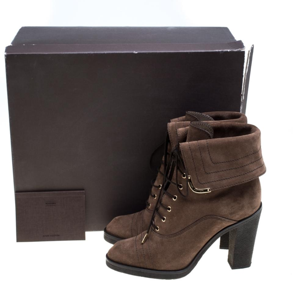 later good quality super popular Louis Vuitton Brown Suede Lace Up Ankle Boots/Booties Size US 7.5 ...