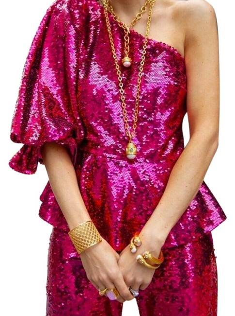 Item - Pink Sequined Asymmetric Top. Blouse Size 0 (XS)