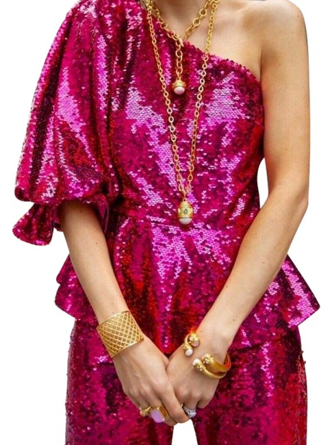 Item - Pink Sequined Asymmetric Top. Blouse Size 6 (S)