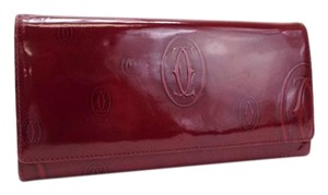 Cartier Cartier Happy Birthday Bifold Wallet Patent Leather Bordeaux Wine Red Ladies