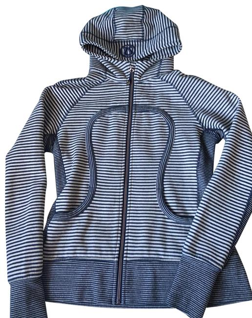 Item - Navy and Taupe Stripe Scuba Hoodie Activewear Size 12 (L)