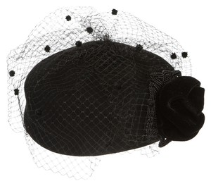 Other Kathy Jeanne Black Wool Rosette Birdcage Mesh Hat