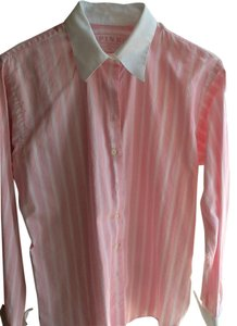 Thomas Pink 100% Irish Cotton Top Pink and White Stripes, White collar and cuffs