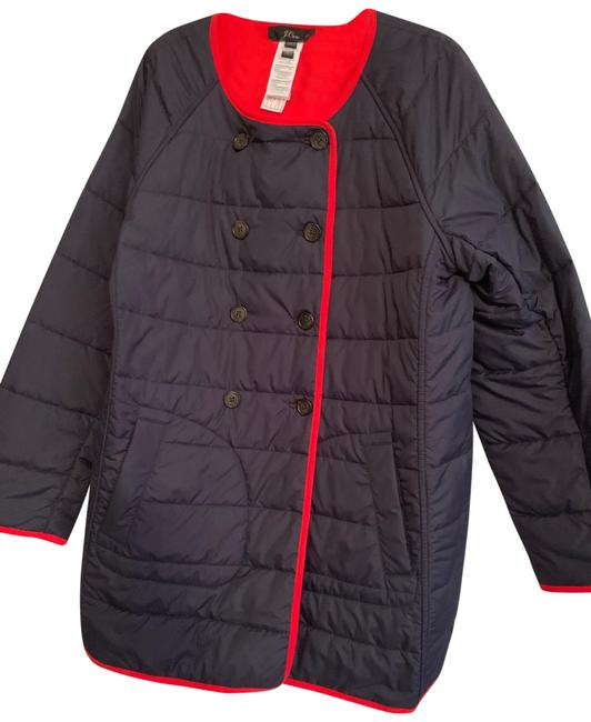 Item - Navy & Red Reversible Puffer Coat Size 14 (L, 34)