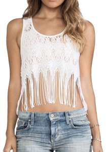 Free People Lace Fringe Summer Top White