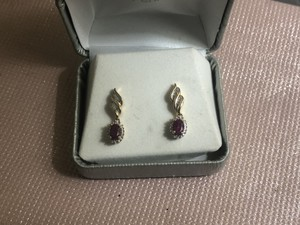 Red and White Real Ruby's Diamond Earrings
