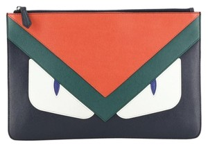 Fendi Pouch Leather Blue, Green, Multicolor, Red Clutch