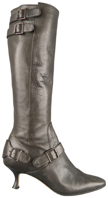 Item - Slate Gray Leather Pointed Knee High Boots/Booties Size US 6.5 Narrow (Aa, N)