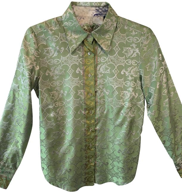 Item - Olive Intricate Embroidered Pattern Mother Of Pearl Buttons Blouse Size 6 (S)