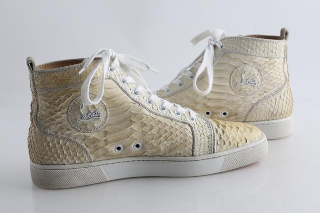 Christian Louboutin White Rantus Orlato Men's High Top Python Sneakers Shoes Christian Louboutin White Rantus Orlato Men's High Top Python Sneakers Shoes Image 1