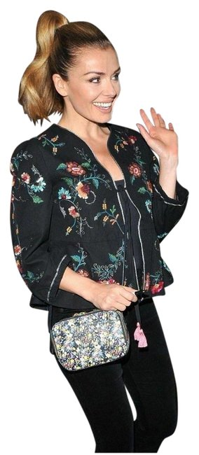 Item - Black New Short Floral Embroidery with Pompoms Ref 0881/015 Jacket Size 4 (S)