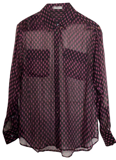 Item - Black with Magenta Design . Button-down Top Size 6 (S)