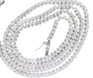 """White 2ctw Diamond Tennis Gold Tone Sterling Silver 24"""" Long Necklace"""