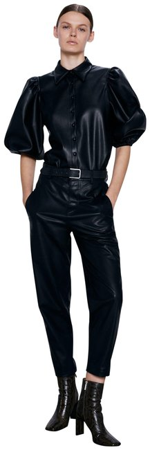 Item - Black L New Faux Leather Ref 2969/246 Pants Size 12 (L, 32, 33)