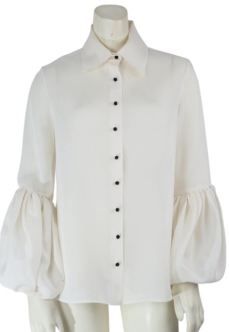 Item - Ivory Collar Bell Sleeve Blouse Shirt Button-down Top Size 8 (M)