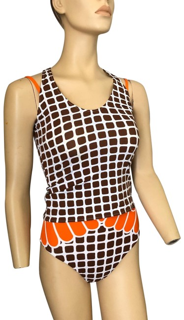 Item - Brown/White/Orange/Yellow Studio Swimsuit & Top One-piece Bathing Suit Size 6 (S)