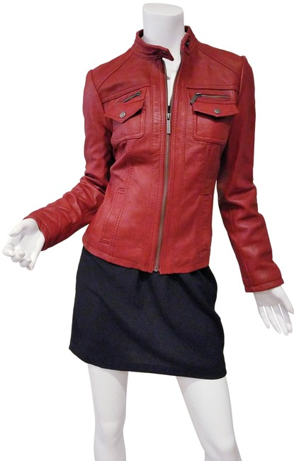 Item - Burgundy Red Moto Racer Cafe Butter Soft Leather Woman Jacket Size 6 (S)