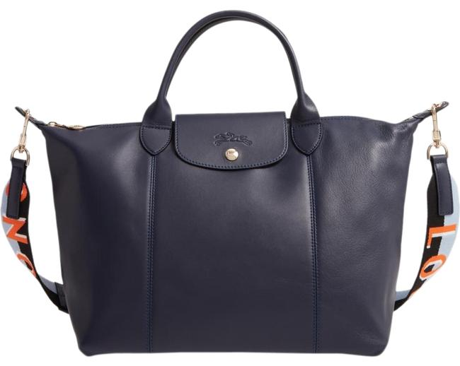 Item - Le Pliage Cuir Tote Navy Lambskin Leather Satchel