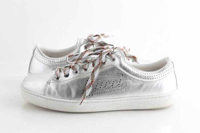Item - Silver Leather Perforated Logo Metallic Sneakers Shoes