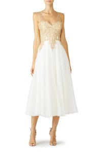 Catherine Deane Scoop Back Lace Chiffon Tea Length Sweetheart Dress