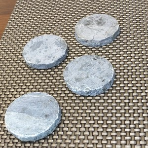 Silver Heavyweight Marble Like Coasters Barware