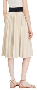 Ann Taylor Faux Leather Pleated Skirt Beige