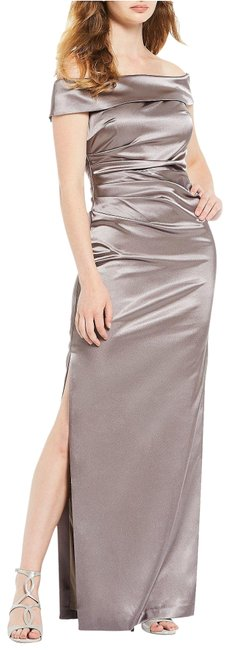 Item - Taupe Satin Off The Shoulder Gown Long Formal Dress Size Petite 4 (S)