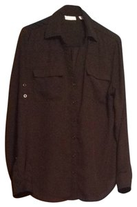 New York & Company Button Down Shirt Black