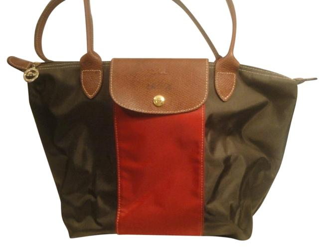 Item - Shopping Bag Le Pliage Bronze/Red Nylon Tote