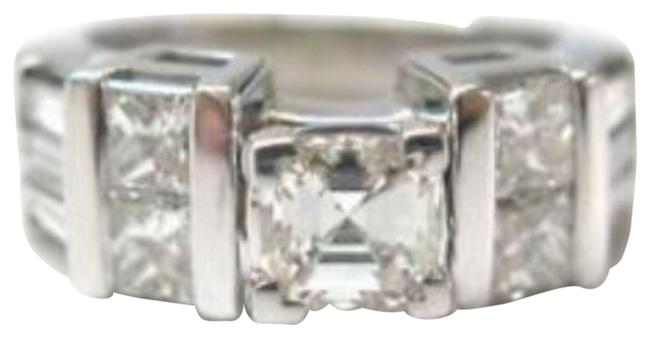 Item - White Gold 18kt Asscher Cut Natural Diamond Solitaire with Accents Engagement Rin Ring