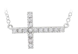 LoveBrightJewelry White Sterling Silver Diamond Horizontal Cross 18 Inch Necklace
