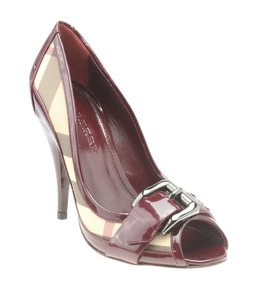 Burberry Heels Patent Leather Burgundy Pumps