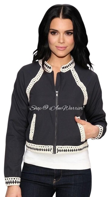 Item - Gray Cream Crochet Trim Zip Baseball Jacket Size 12 (L)