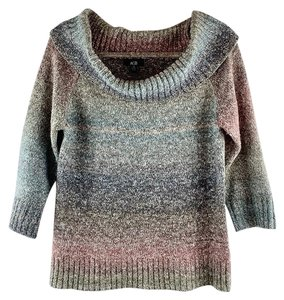 AGB Ombre Cowl Neck 3/4 Sleeve Heather Sweater