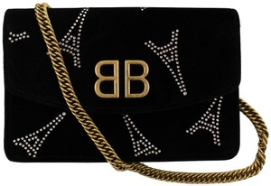 Balenciaga Velvet Gold Hardware Embellished Logo Paris Shoulder Bag