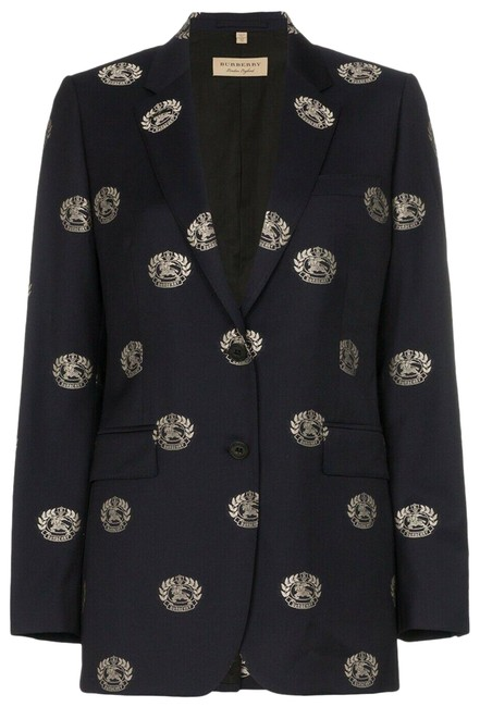 Item - Blue Boreton Navy Wool Crest Logo Blazer Tailored Jacket Us Uk 6 Cardigan Size 4 (S)