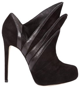 Alejandro Ingelmo Origami Leather Suede Layer Heels Black Boots