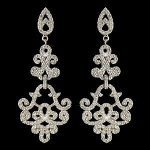 Elegance By Carbonneau Cz Crystal Swirl Wedding Earrings